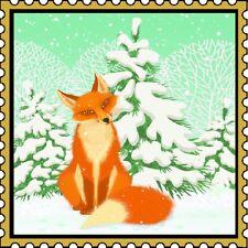 30 Custom Winter Fox Stamp Art Personalized Address Labels