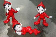 "Set of (3) Three 2"" Christmas Red Pixies Elves Elf Sprites"