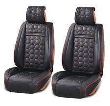 2x Kunstleder Autositzbezug Schonbezug Schwarz mit roter Naht Vordersitzbezüge