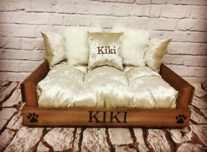 XS / SMALL PERSONALISED DOG BED ~ CAT BED ~ IN WOOD FREE EMBROIDERED PILLOW