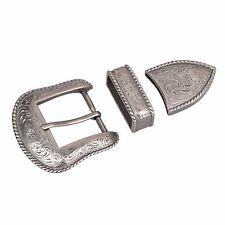 Antique silver Cowboy Belt Buckle for Men Western Cowgirl Belts 3 piece set