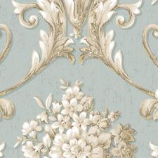 Floral Damask Wallpaper Blue, Beige, Metallic Gold Norwall Wallcovering CS35621