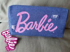 BNWT Barbie Zip Pencil Case Official Merchandise Blue 'Ripped' Denim Pink Logo