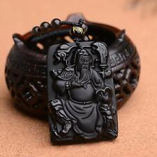 """Natural Obsidian pendant """"Guan Yu"""" Lucky Charms pendant Guan Gong Amulet"""