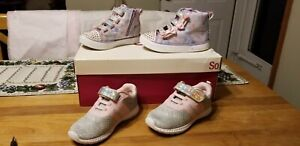 Lot 2 Pr. Toddler Girl Sz 10 Nautica &  Sketchers Twinkle Toes Athletic Shoes