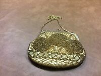 Vintage 1950's Mister Ernest Gold Glass Beads  Evening Purse Bag Clutch Chain