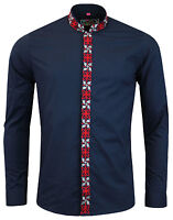 NEW MENS MADCAP ENGLAND RETRO MOD 60s MANDARIN COLLAR SHIRT: AVORY NAVY MC299