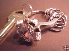HUGE Imitation Diamond Ring Key Chain Silver Tone Wedding Engagement