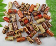 100Pcs 6MMX12MM random mixed Hand painted tubular wood beads DIY FINDINGS