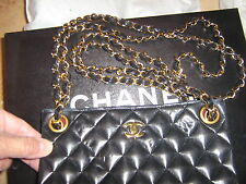 CHANEL FRANCE 100%AUTH CC LOGO BLACK LAMBSKIN QUILTED GOLD CHAIN EVENING BAG