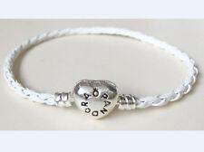 1PCS Heart Clasp White Leather Bracelets Chain Bangle Suit European Charms/Beads