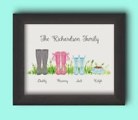 PERSONALISED FAMILY WELLIES PRINT - BUILD YOUR OWN FAMILY WELLIES GIFT CUTE