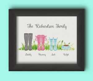 PERSONALISED FAMILY WELLIES PRINT - BUILD YOUR OWN FAMILY WELLIES GIFT CHRISTMAS