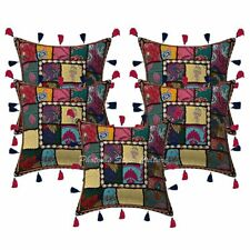Decorative Cotton Bohemian Cowrie 16 Inch Embroidered Patchwork Pillow Covers