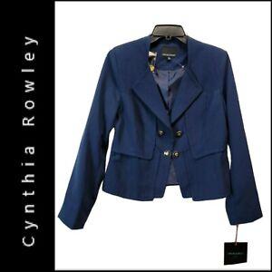 Cynthia Rowley Womens Career Formal Blazer Suit Size Medium Blue Nwt