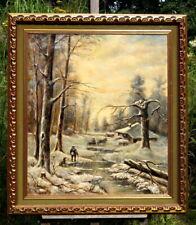 hervorragendes Ölgemälde Winterwald 1974 signierte Künstlerarbeit