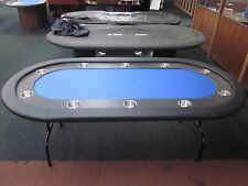 """84""""  7 FOOT PRO POKER TABLE WITH SPEED FELT [BLUE] + STAINLESS STEEL JUMBO CUP"""