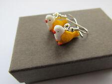 Budgie Handmade Miniature Yellow Budgie Budgerigar Pet Bird Earrings Gift Boxed