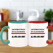 FUNNYWORDS® Rote Streifen Serie UNTERM STRICH IST ALLES BESSER Kaffeebecher