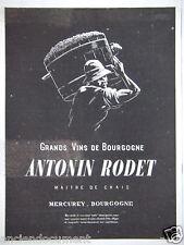 PUBLICITÉ 1943 ANTONIN RODET GRANDS VINS DE BOURGOGNE - ADVERTISING