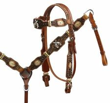 Showman Leather Horse Bridle Reins Breast Collar Rawhide RS Crossed Guns Pistols