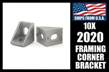 Qty. 10 Corner Framing Brackets for 2020 Extrusion, 20mm Aluminum T-slot Gusset