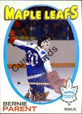 Custom made Topps 1971-72 Toronto Maple Leafs Bernie Parent hockey card blue