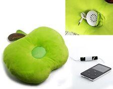Cute Green Apple Mp3 Phone Stereo Music Speaker Pillow Home Trip Car Cushion New