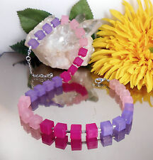 Trendstarke Würfelkette in lila pink rosa / MATT Polaris Effekt