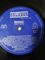 """El Kunstvoll Mundo de WALT DISNEY los Tres Ritter LP vinyl Vinyl 10 """" 1970"""