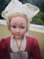 """OLD VTG 9"""" FRENCH HAND PAINTED BISQUE POTTERY DOLL SOUVENIR ETHNIC OUTFIT"""