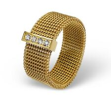 NEW Sexy Yellow Gold Stainless Steel 8mm Wide Mesh Ring CZ Zirconia Band Size 5