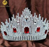 Red Crystal Large Tiara Hair Crown Rhinestone Wedding Bridal Pageant Prom Party