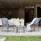 Rattan Wicker Furniture Set 3pc Cushioned Outdoor Garden Seat Patio Sofa Chairs
