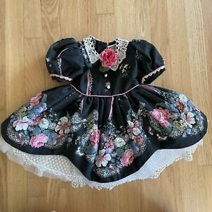 Daisy Kingdom 12M Dress Black Pink Flowers White Lace Fluffy Full skirt Tulle