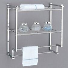 Over The Toilet Bathroom Organizers oia chrome 2 tier wall mounting rack shelf w/ towel bars | ebay