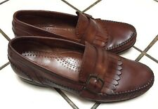 BASS FOXTAIL Brown Leather Kiltie Buckle Slip On Loafers Men's 9 M