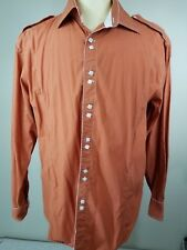 Steven Land Mens XL Fitted Shirt 100% Cotton Orange Top stitching Square Buttons
