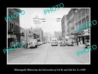 OLD LARGE HISTORIC PHOTO OF MINNEAPOLIS MINNESOTA, VIEW OF 3rd & 2nd AVE c1940