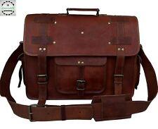 """18"""" Large Leather MESSENGER bag for men shoulder bag mens Laptop BRIEFCASE bag"""