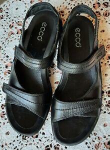Ecco Light Wave black leather sandals 39/8.5
