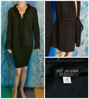 ST. JOHN Evening Knits Black Jacket XL 14 16 Blazer Ruffle Silk Trim Tie Front