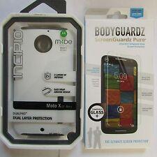 Incipio Dual Pro HardShell Case MOTO X 2nd Gen White with Free Bodyguardz Screen