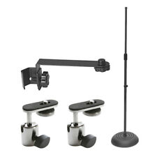 On Stage MS7201B Round Base Mic Stand  + Mic Extension Arm + 2 Camera Adapters
