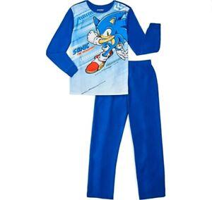SONIC The Hedgehog Pajamas 4 5 6 7 8 10 12 Boys 2Pic Flannel Set New Sleepwear