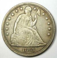 1865 Seated Liberty Silver Dollar $1 - XF Detail (EF) - Civil War Date Coin!