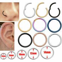 Seamless Hinged Segment Sleeper Clicker Rings Hoop Ear Lip Nose Septum Piercing