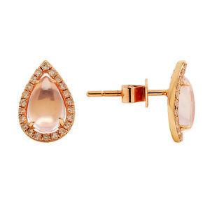 14K ROSE GOLD PAVE DIAMOND & ROSE PINK QUARTZ HALO TEARDROP PEAR STUD EARRINGS