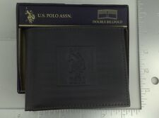 Men's U.S. POLO ASSN. Brand Black LEATHER Double BiFold Wallet- $48 MSRP - 20%