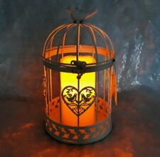 Birdcage lantern with LED candle white decorated with birds, 27cm high-NEW